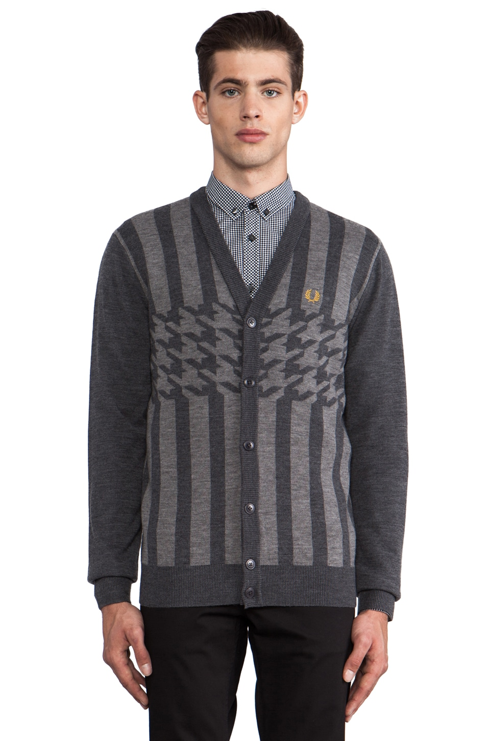 Fred Perry 45's Knitted Cardigan in Graphite Marl