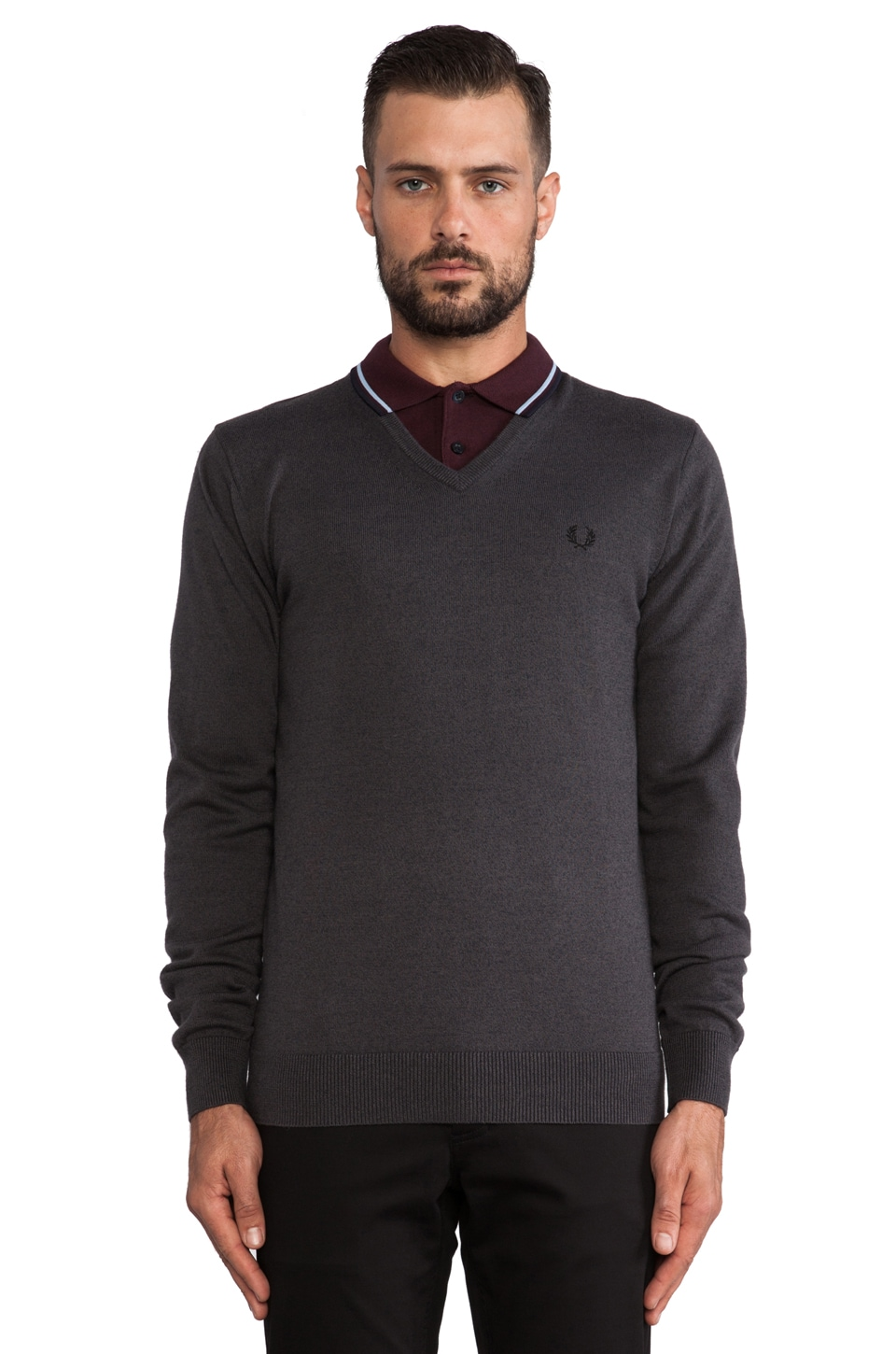 Fred Perry Classic V-Neck Sweater in Graphite Marl