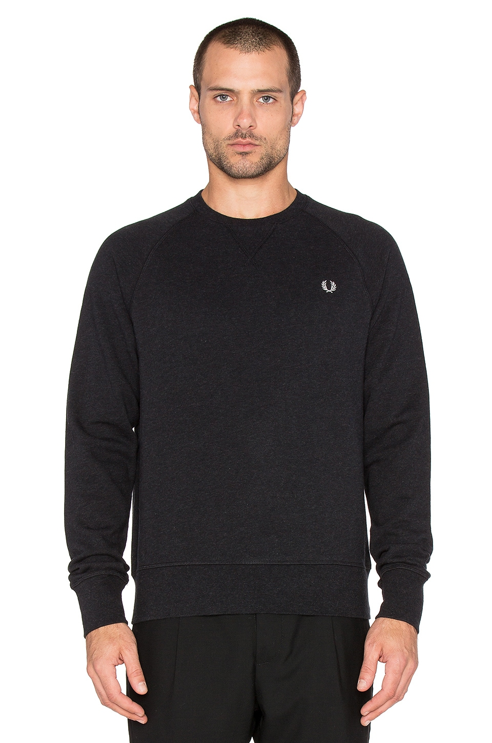abce4f8e191 Fred Perry Loopback Crew Neck Sweatshirt in Black Marl | REVOLVE