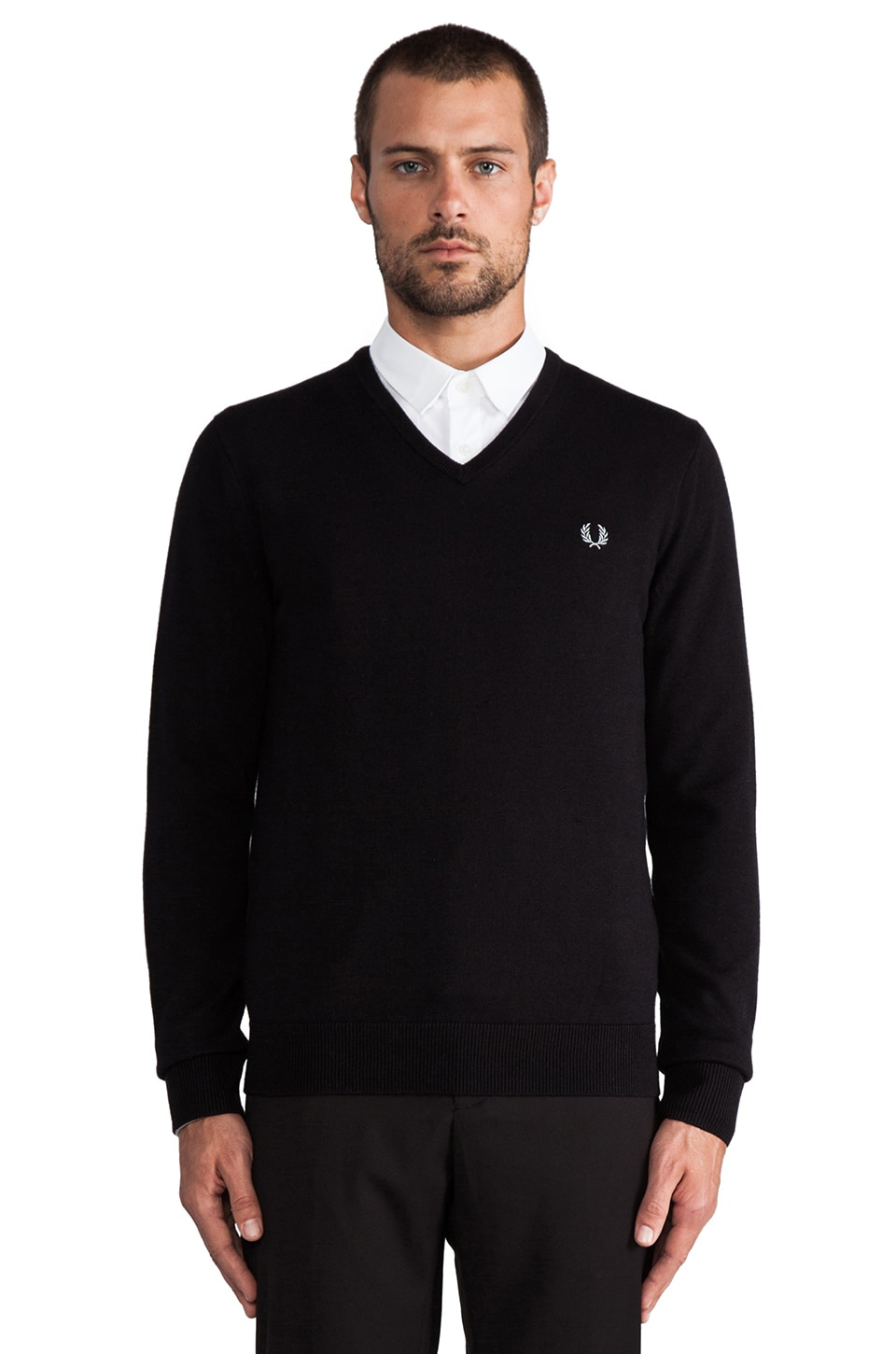 Fred Perry Classic Tipped V-Neck in Black