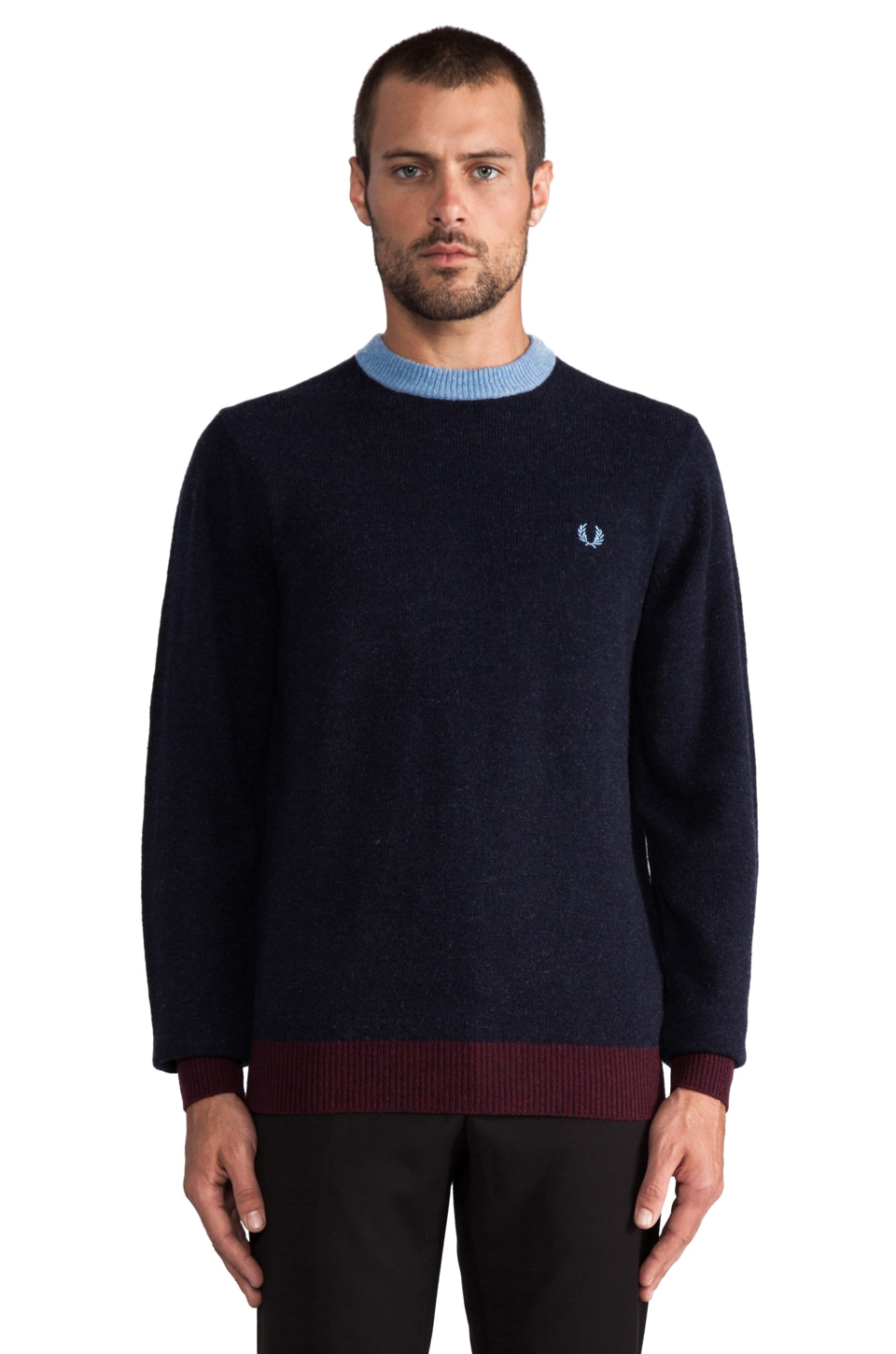 Fred Perry Contrast Ringer Crew in Navy Marl