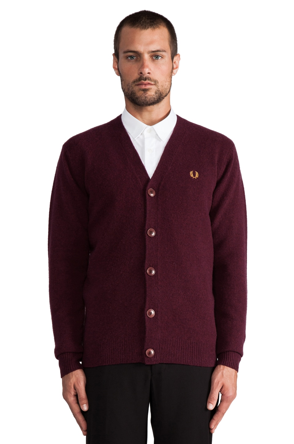 Fred Perry Boiled Tipped Cardigan in Port Marl