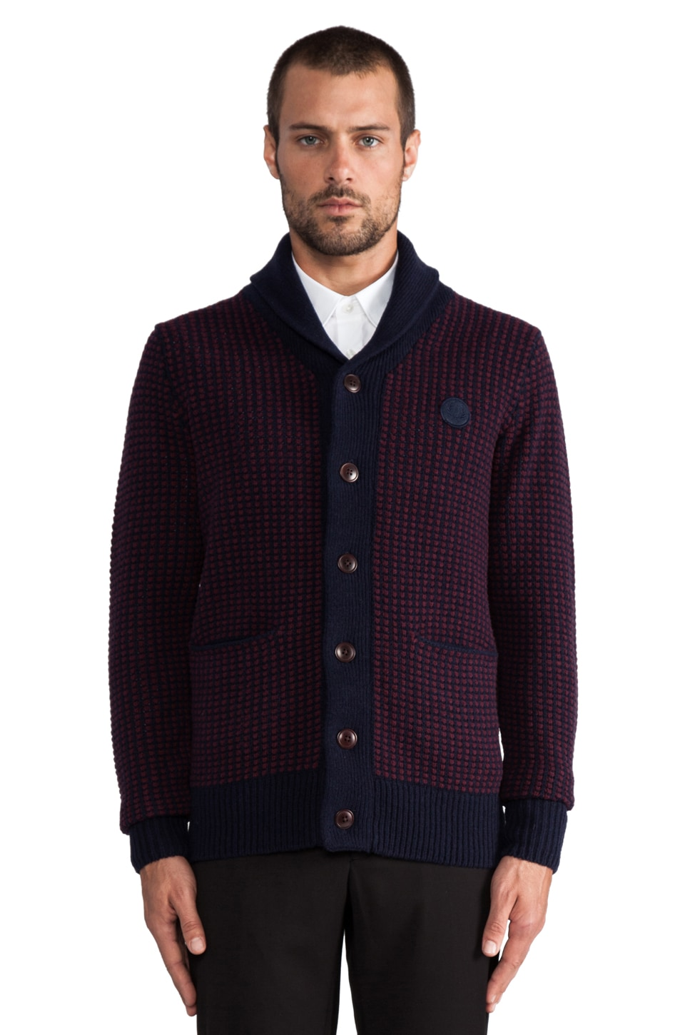 Fred Perry Two Tone Waffle Shawl en Navy/Port