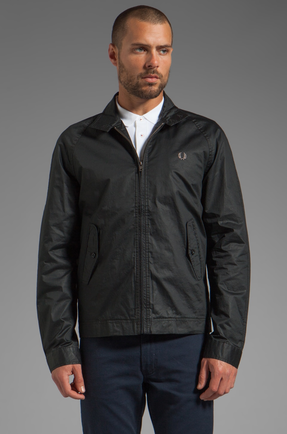 Fred Perry Coated Cotton Harrington Jacket in Black