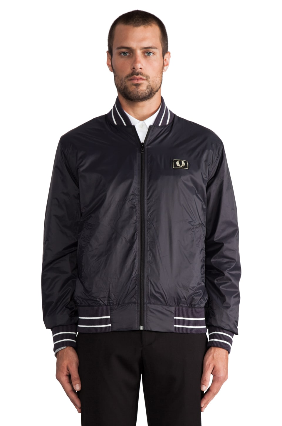 Fred Perry Tipped Bomber en Anchor Grey