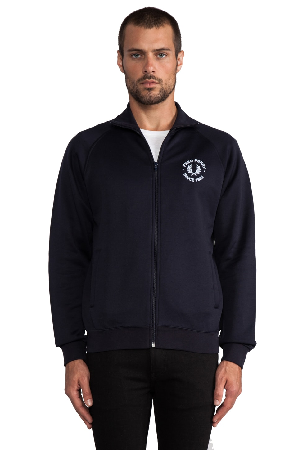 Fred Perry Track Jacket in Navy/Pearl