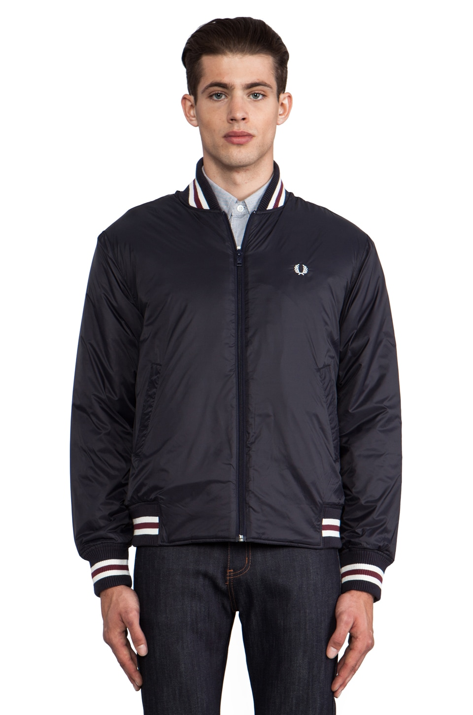 Fred Perry Tipped Tennis Bomber in Navy/Port