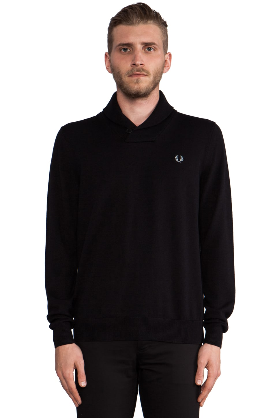 Fred Perry Classic Shawl Neck Sweater in Black