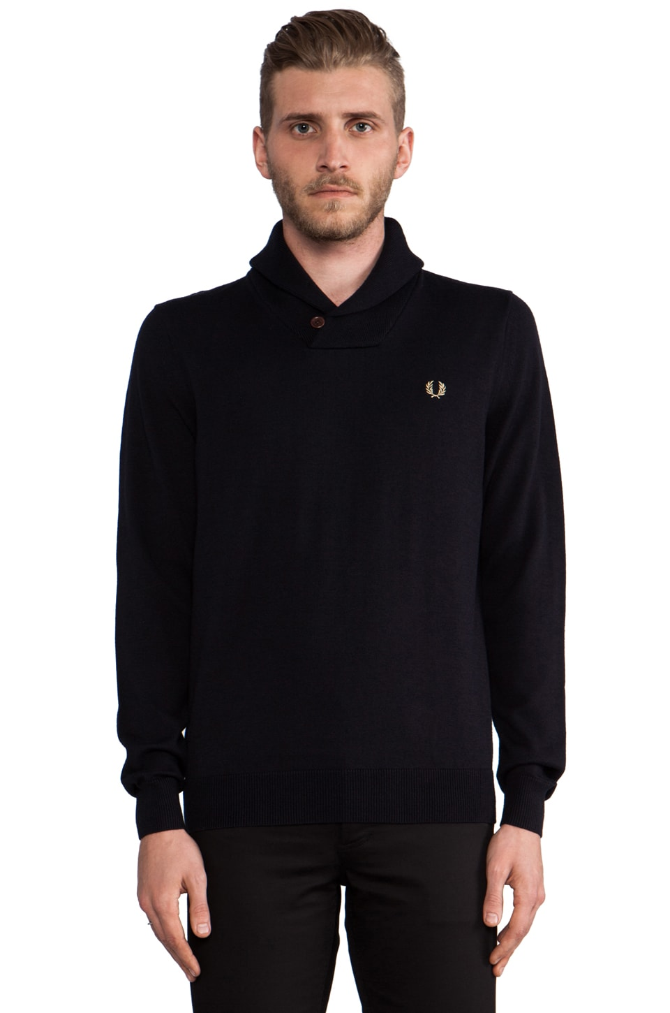 Fred Perry Classic Shawl Neck Sweater in Navy