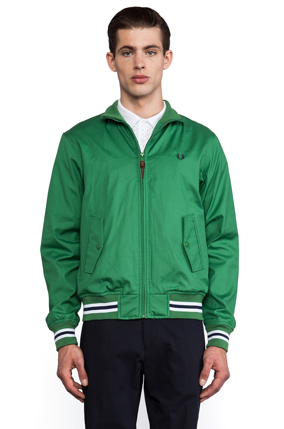 Fred Perry Waxed Tipped Bomber in Pea Green