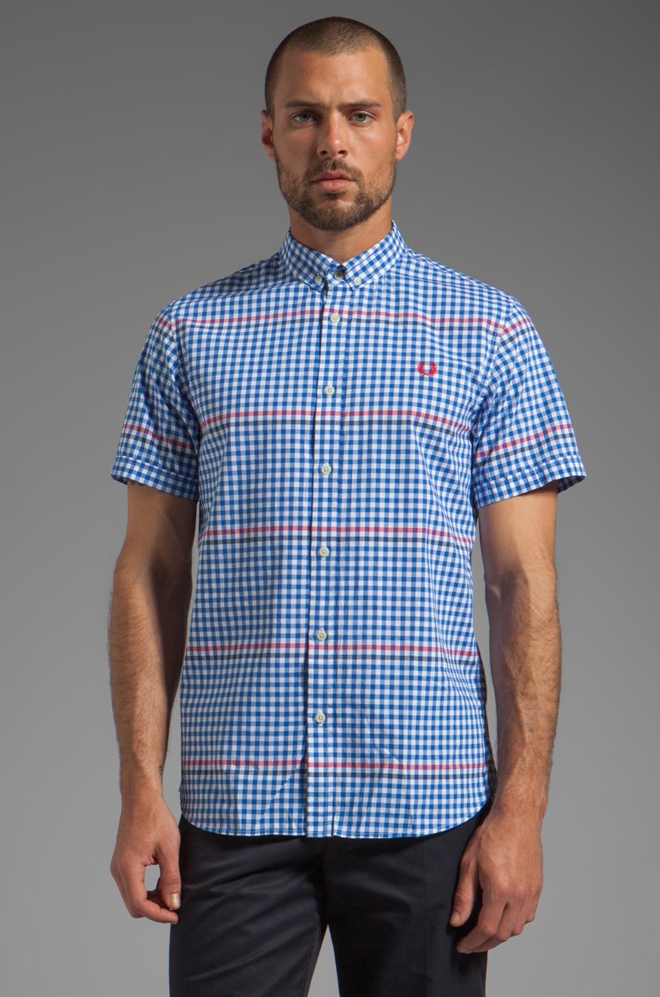 Fred Perry Tipped Gingham Shirt in White