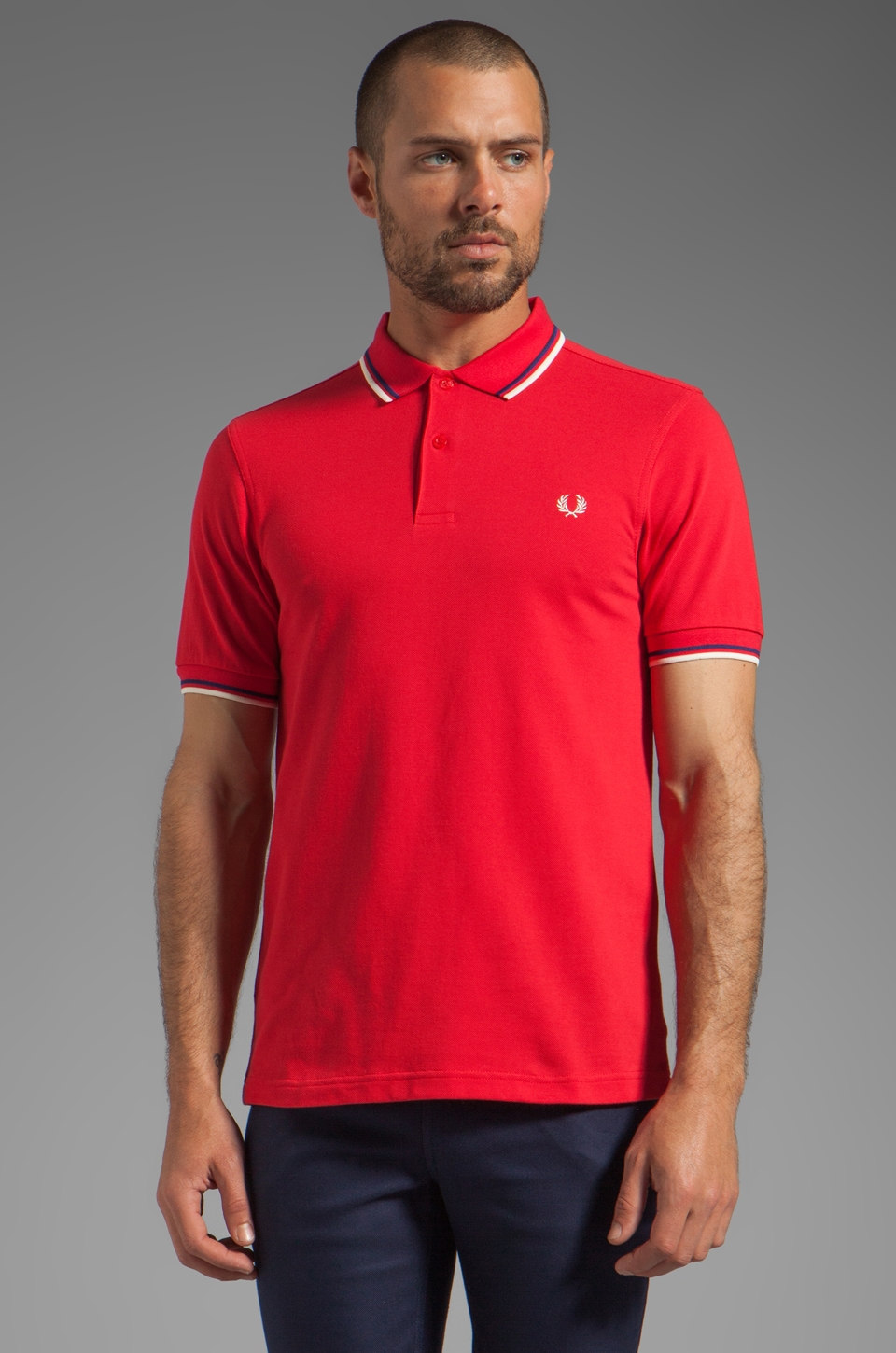 Fred Perry Twin Tipped Fred Perry Shirt in Red/Medieval Blue/Ecru