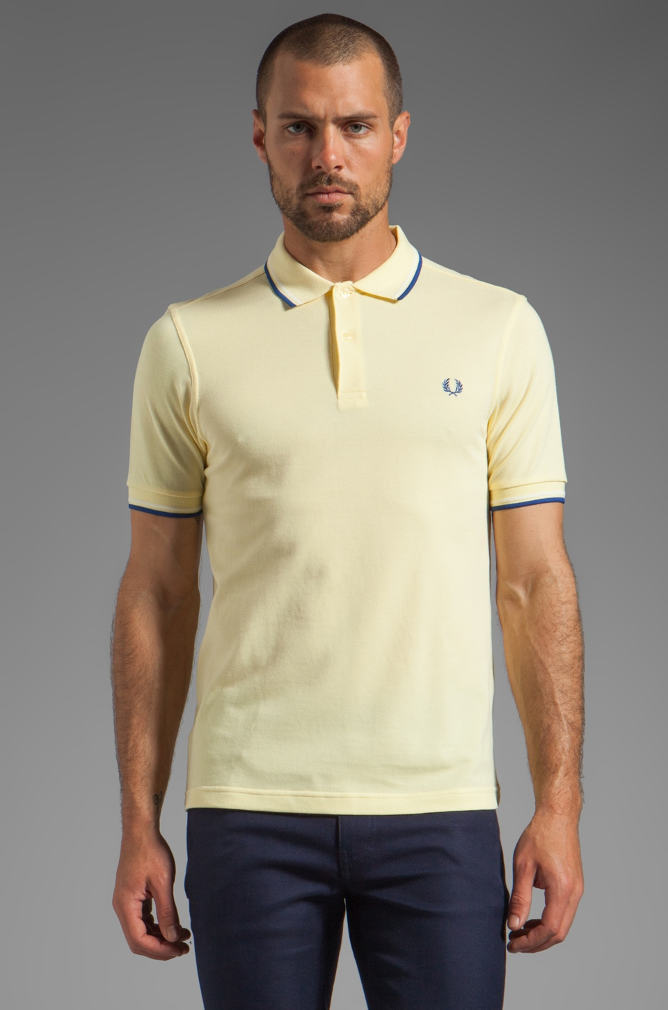 Fred Perry Twin Tipped Fred Perry Shirt in Ice Lemon/Ecru/Midblue
