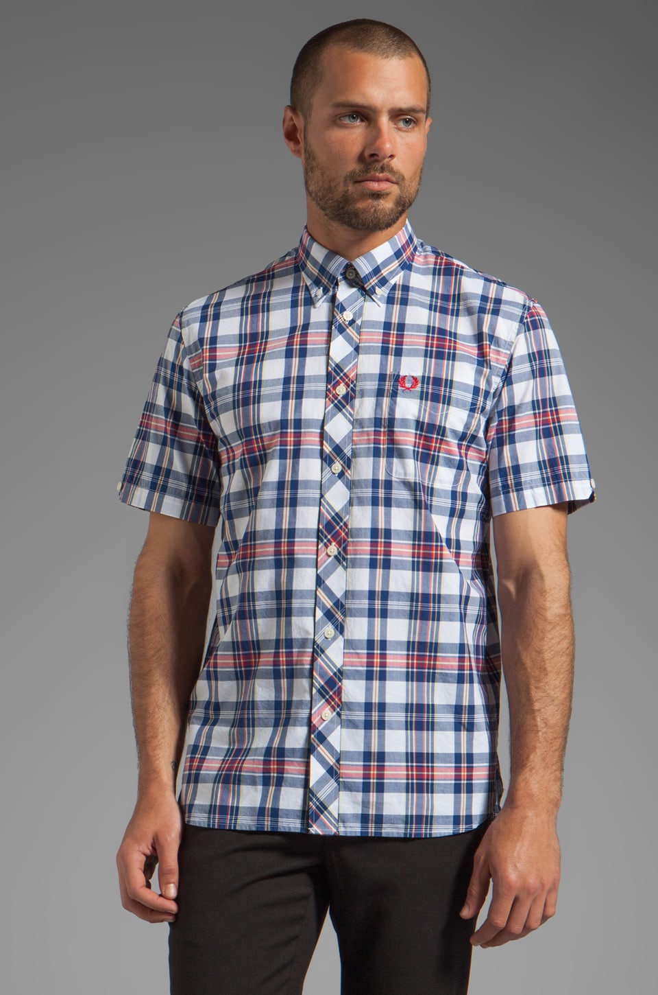 Fred Perry Bold Check Shirt in White