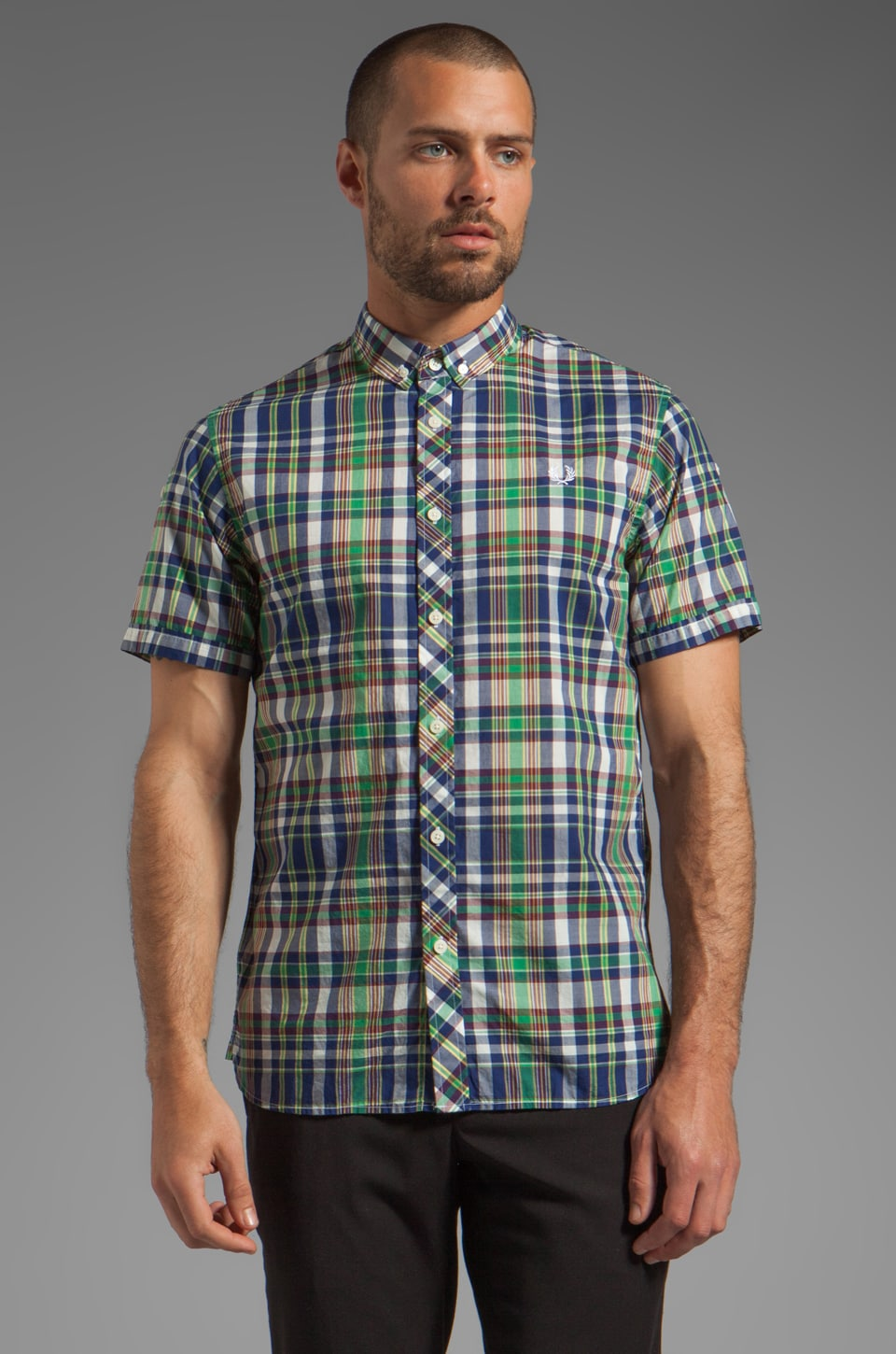 Fred Perry Poplin Madras Check in Kelly Green