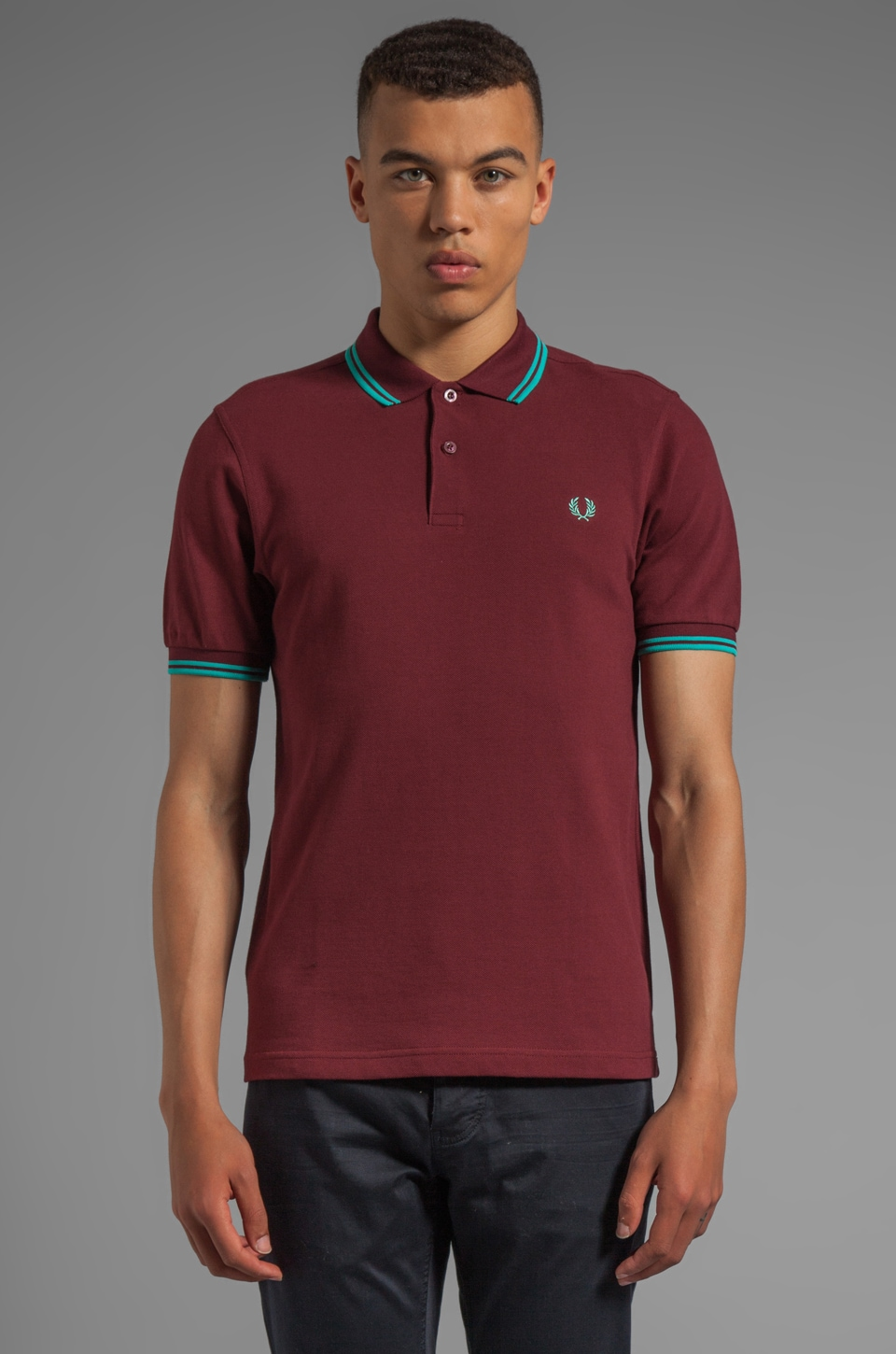 Fred Perry Twin Tipped Shirt in Port/Peppermint