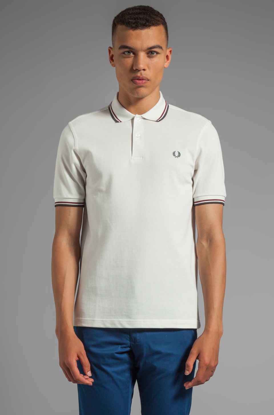Fred Perry Twin Tipped Shirt in Light Ecru/Port/Graphite Marl