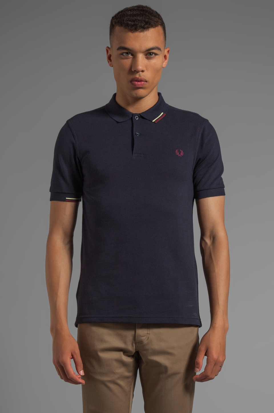 Fred Perry Start Stop Tipping Shirt in Navy
