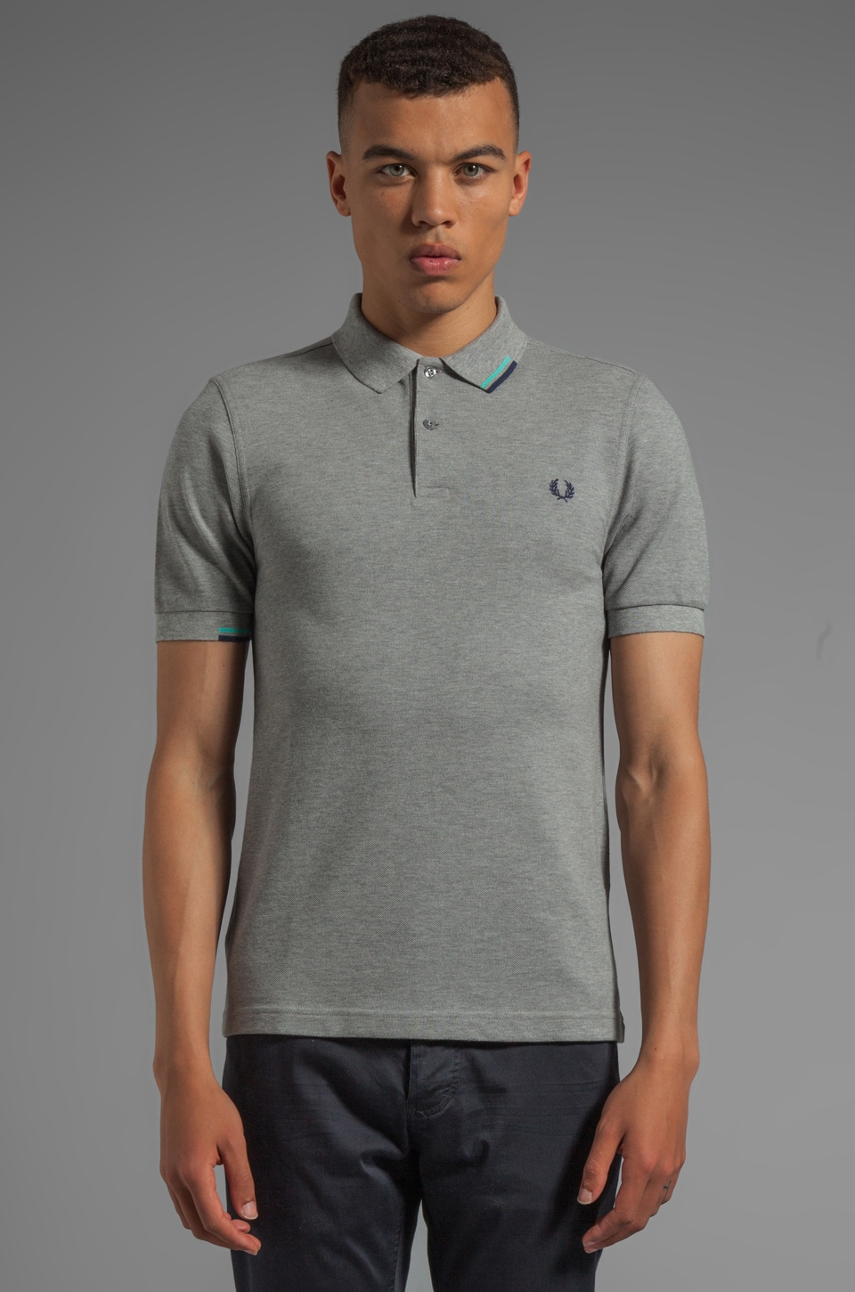 Fred Perry Start Stop Tipping Shirt in Steel Marl