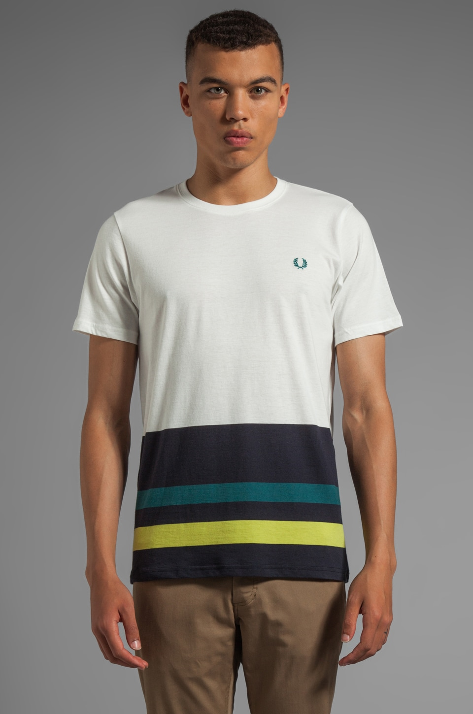 Fred Perry Engineered Hem Stripe Shirt in Snow White