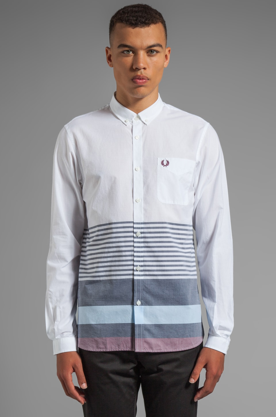 Fred Perry Wide Placement Stripe Shirt in White