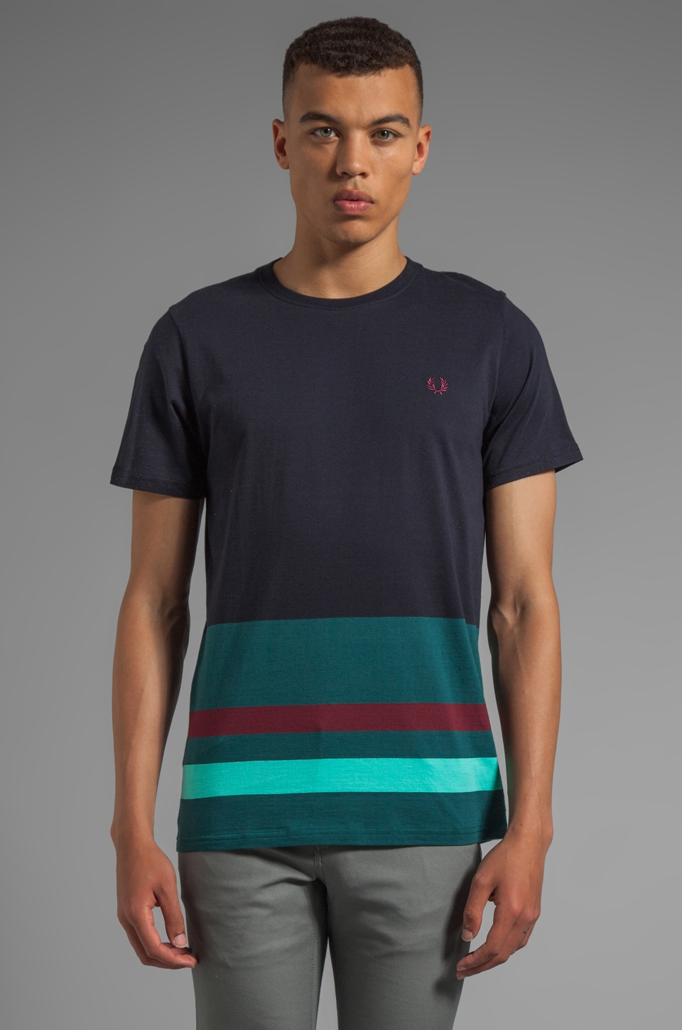 Fred Perry Engineered Hem Stripe Shirt in Navy