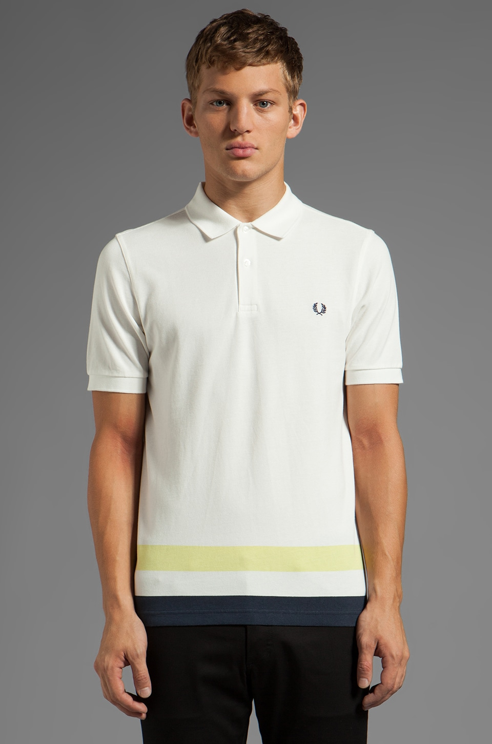 Fred Perry Oversized Classic Tipped Hem Polo in Snow White
