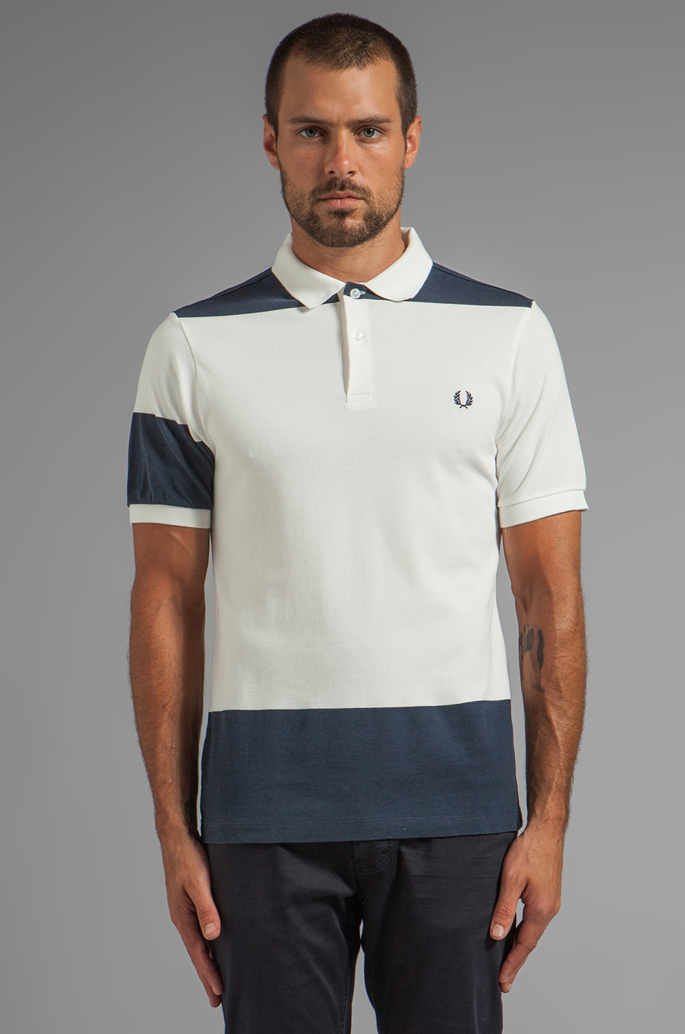Fred Perry Bold Stripe Polo in Snow White