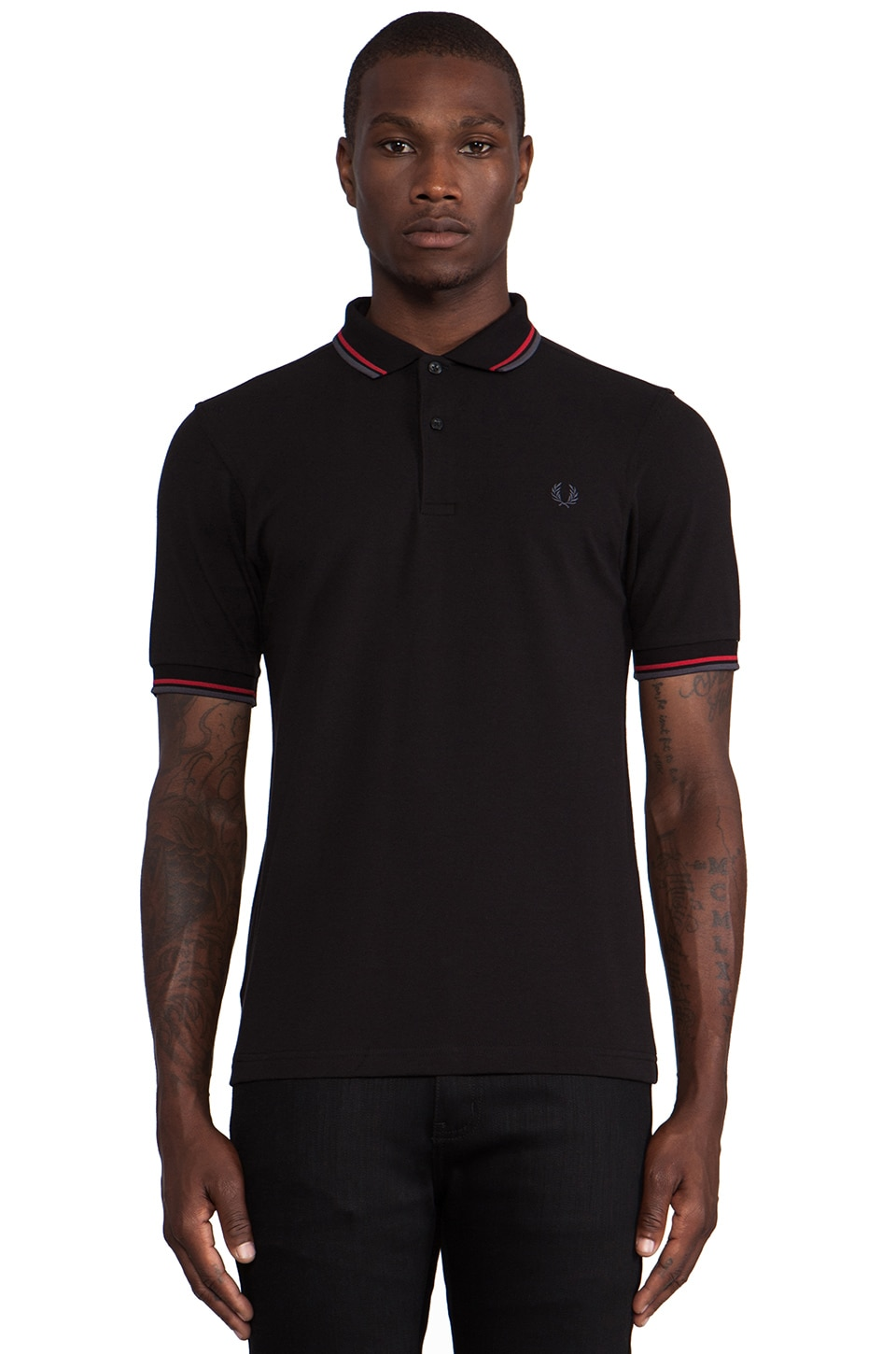 Fred Perry Twin Tipped Polo in Black & Blood & Industrial Grey