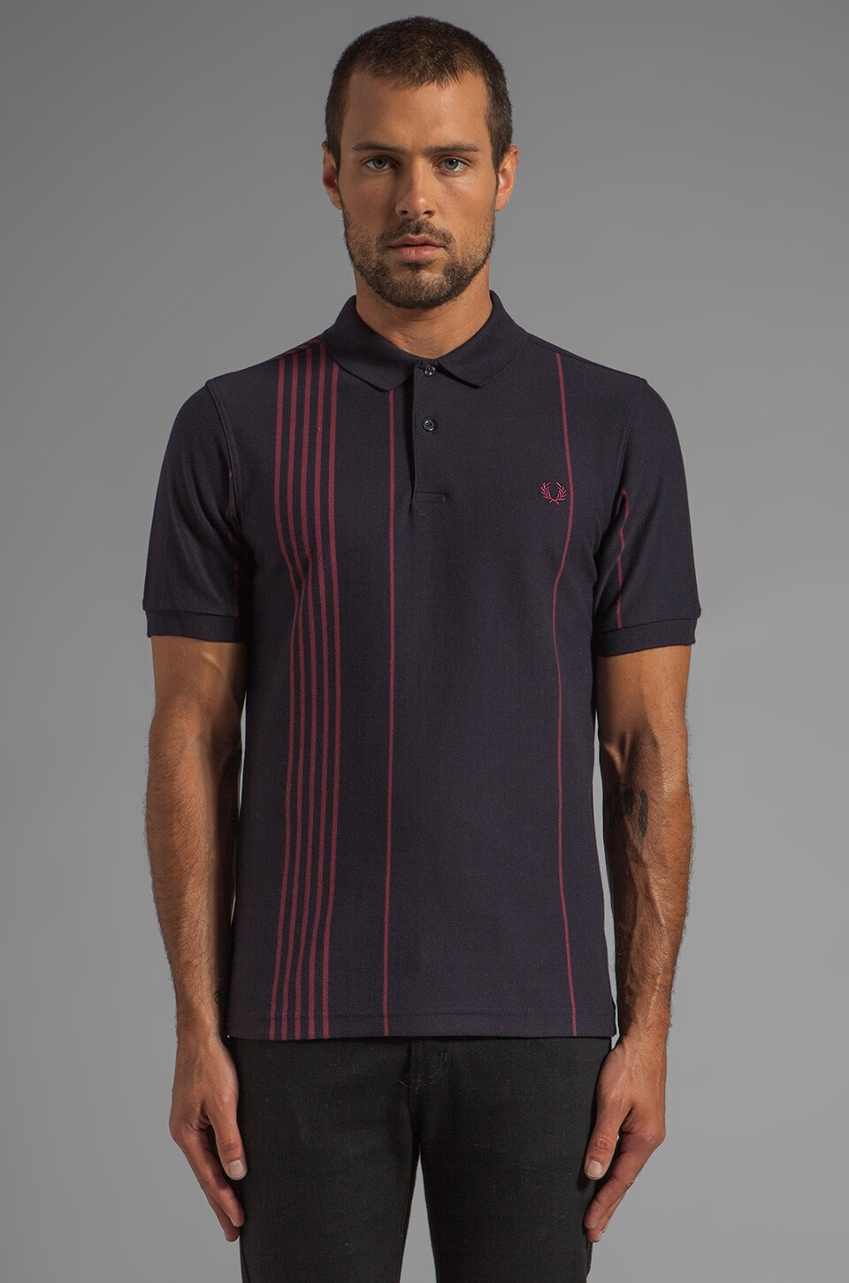 Fred Perry Vertical Stripe Polo in Navy