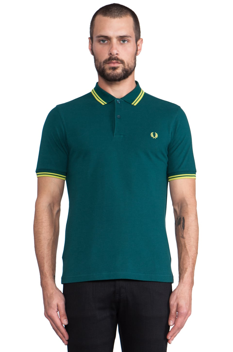 Fred Perry Twin Tipped Shirt in Dark Teal/Luminary Green