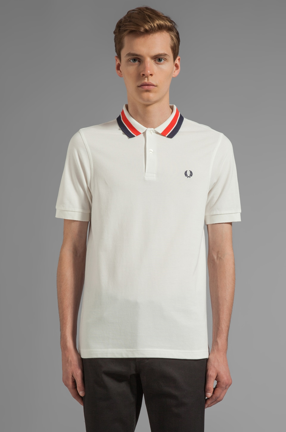 Fred Perry Bold Collar Polo in Snow White