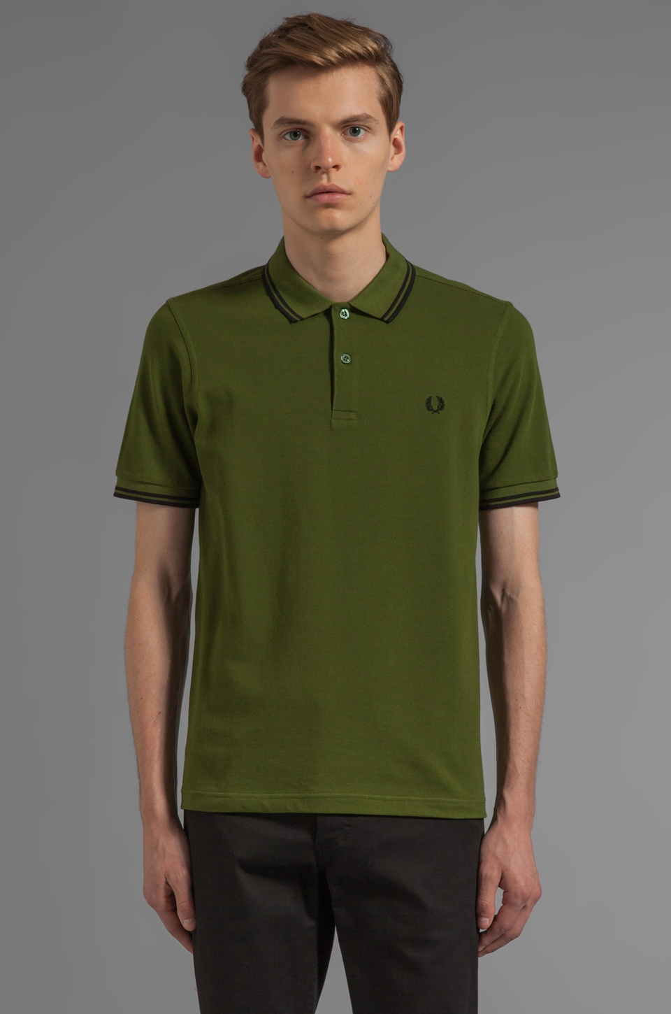 Fred Perry Twin Tipped Polo in Olive/ Black/ Black