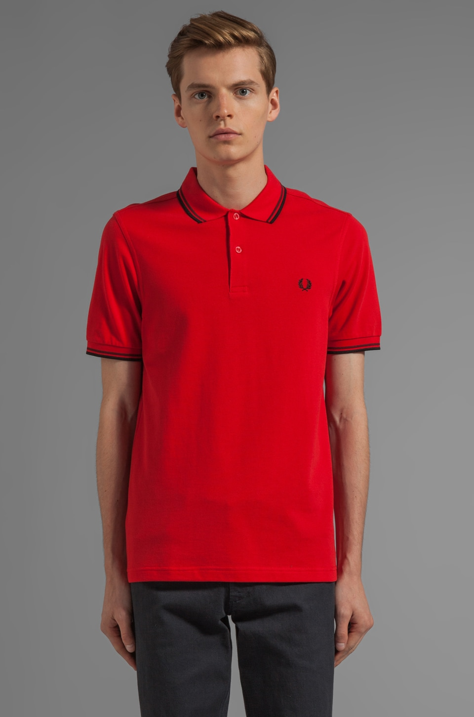 Fred Perry Twin Tipped Polo in Red/ Port/ Black