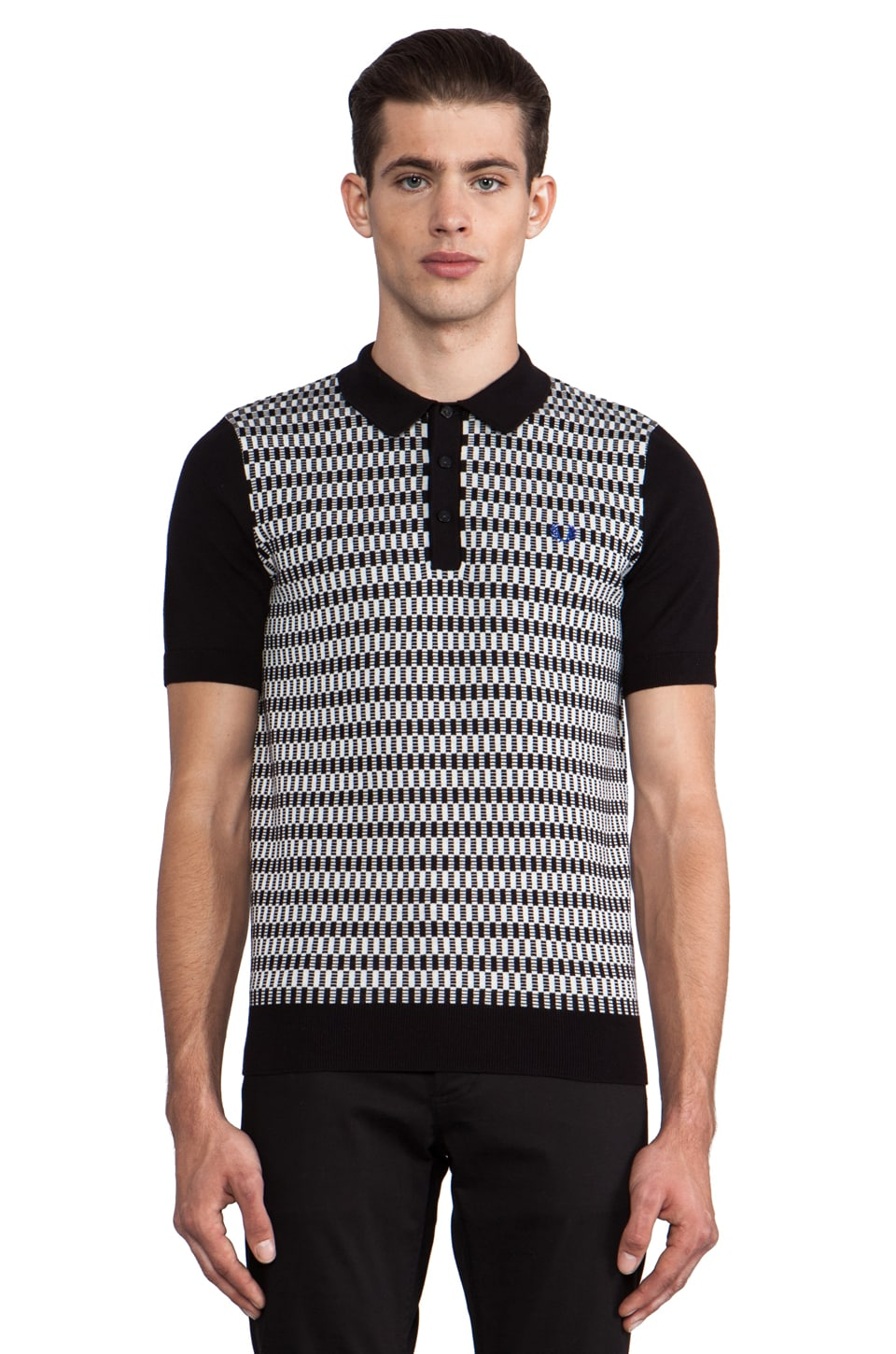 Fred Perry 45's Knitted Polo in Black