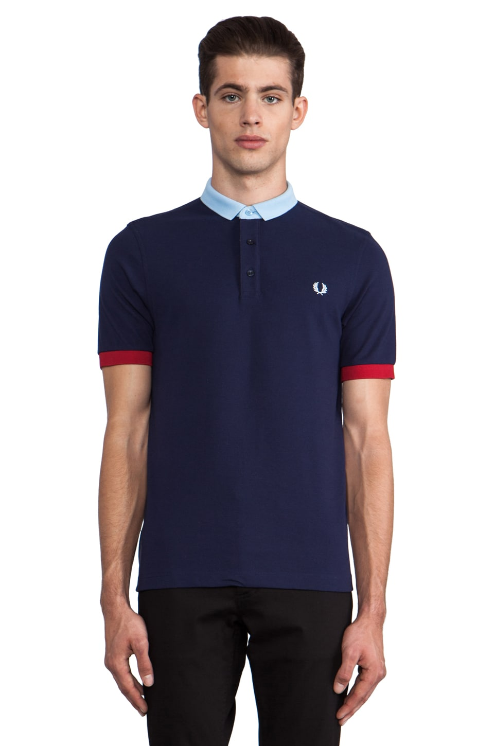 Fred Perry Block Collar Shirt in Carbon Blue/Glacier/Blood