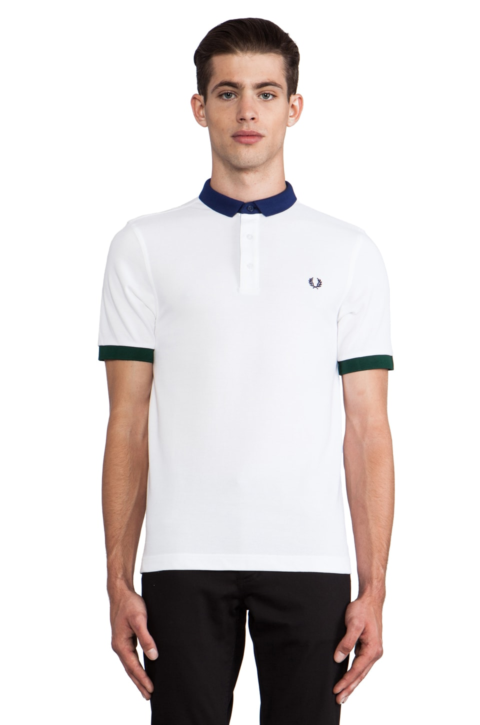 Fred Perry Block Collar Shirt in White