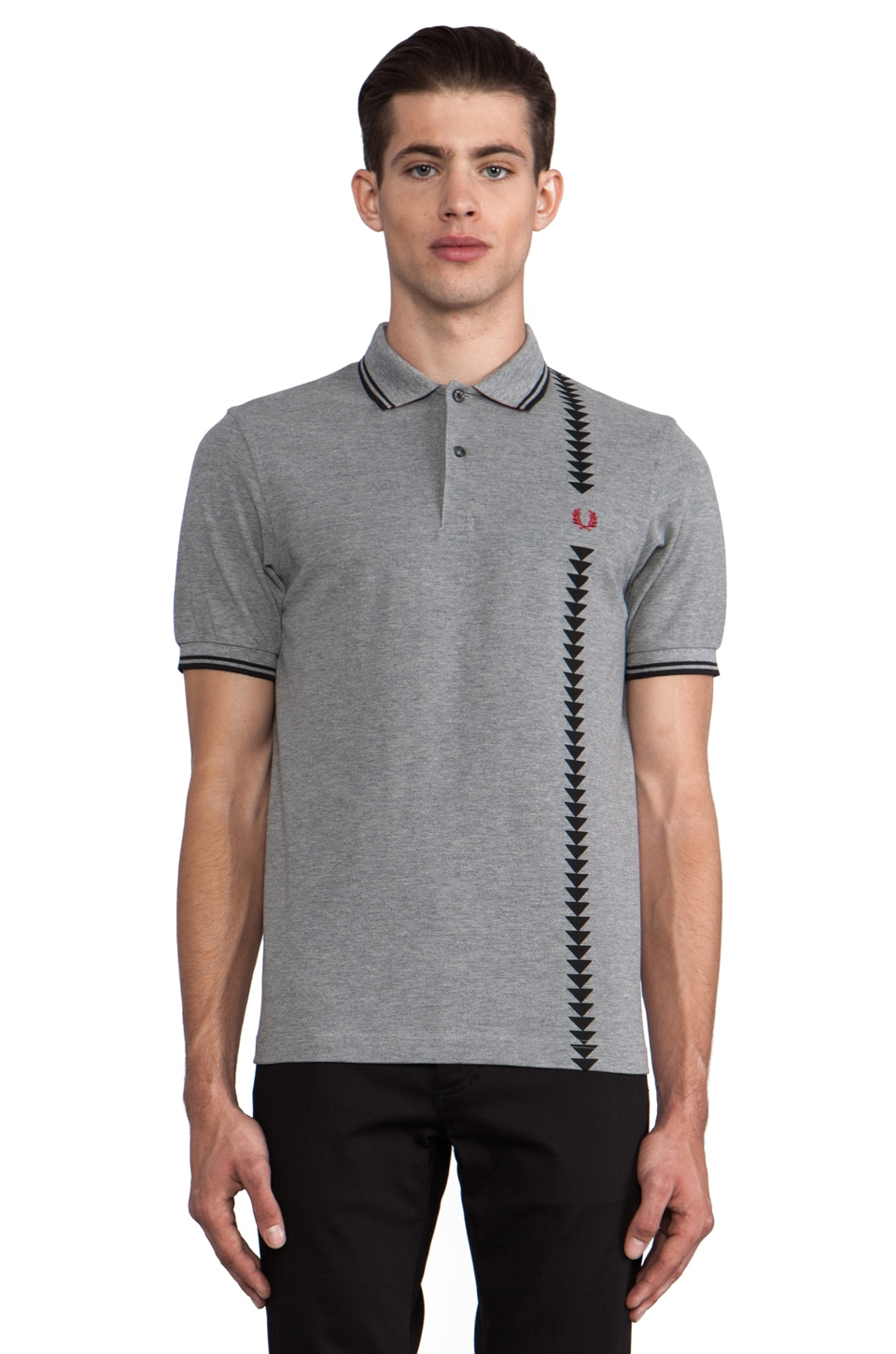 Fred Perry 45's Vertical Print Polo in Steel Marl