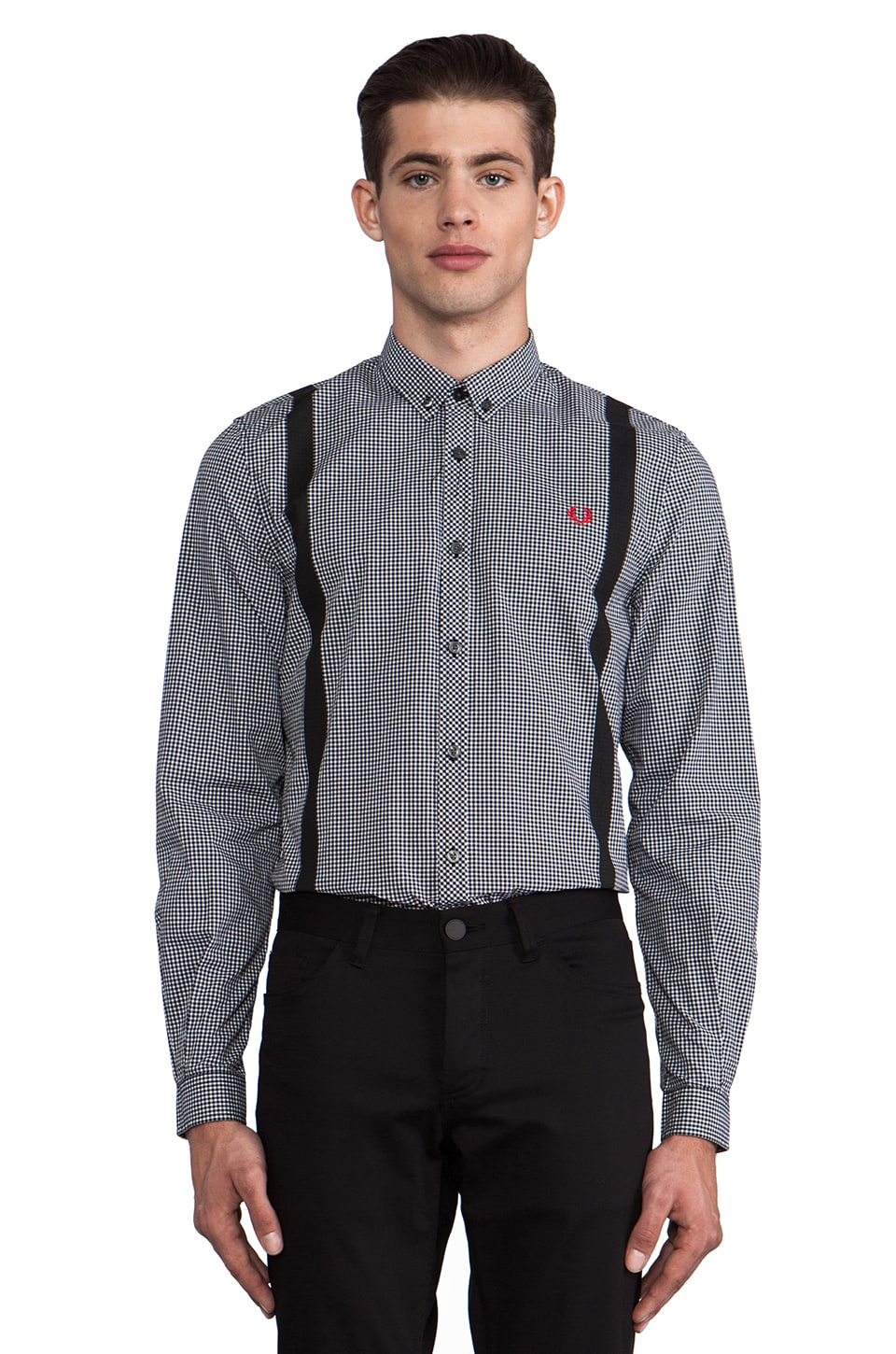 Fred Perry 45's Gingham Print Button Down in Black