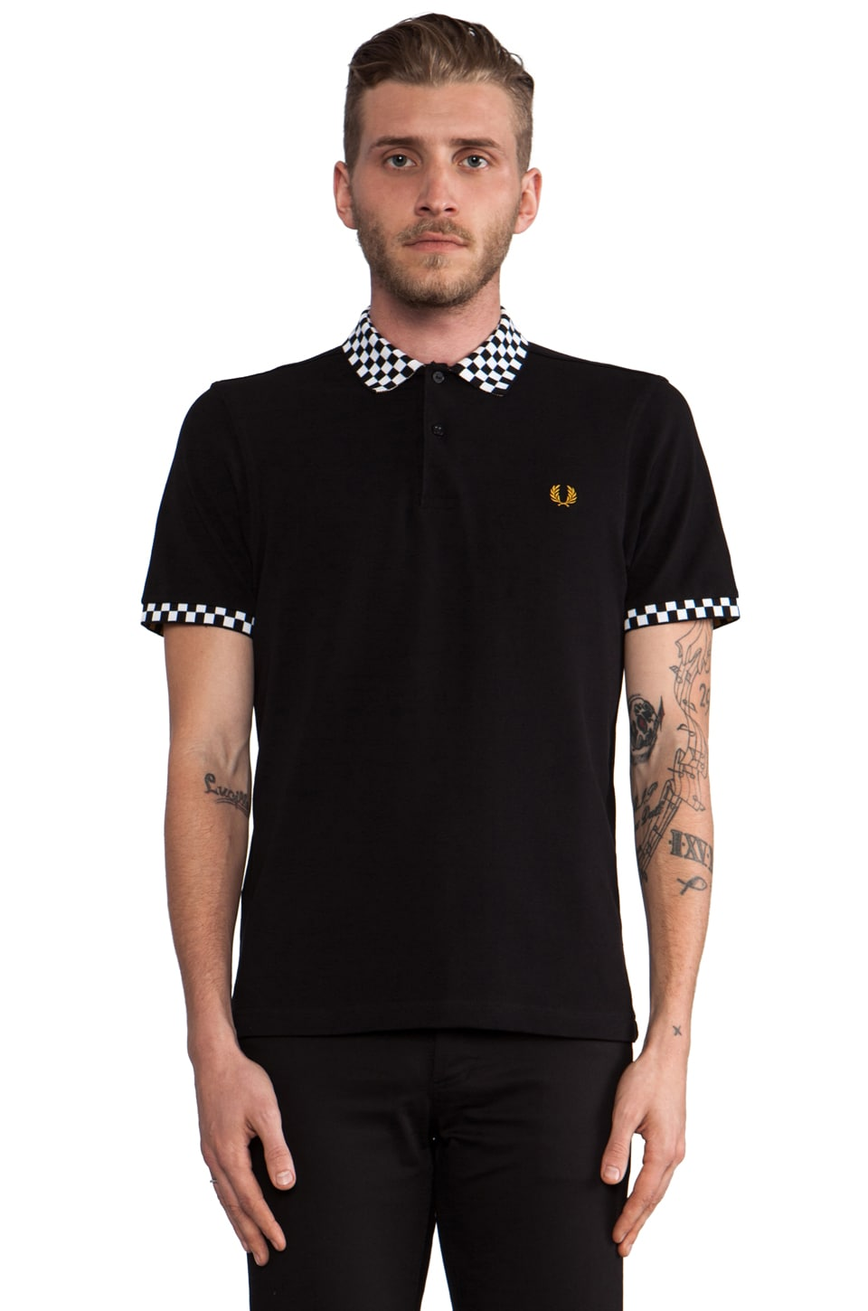 Fred Perry 45's Checkboard Trim Polo in Black