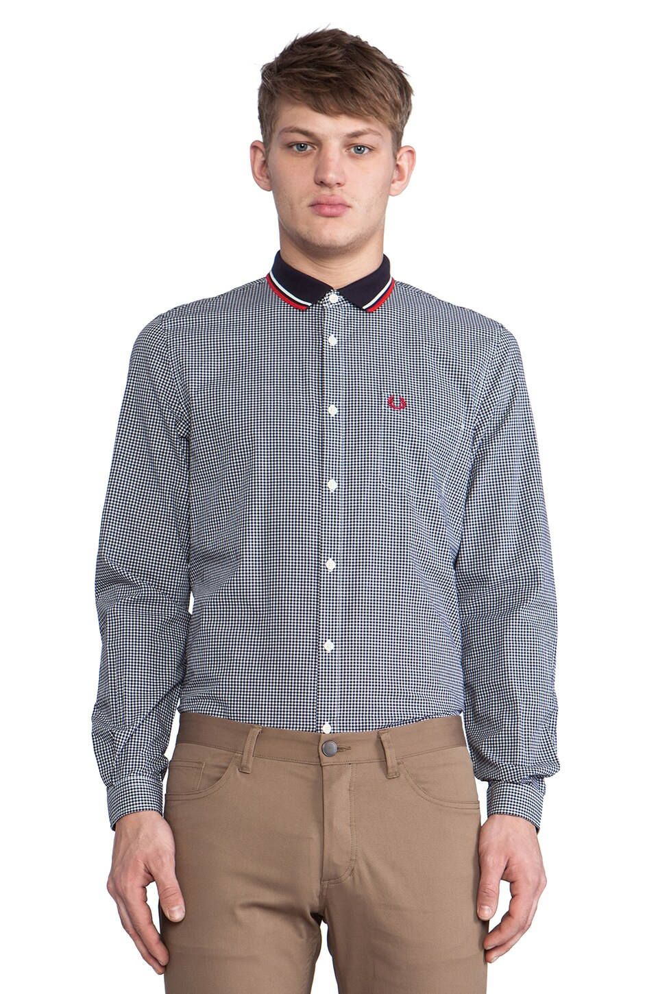 Fred Perry Knitted Collar Gingham Shirt in Navy