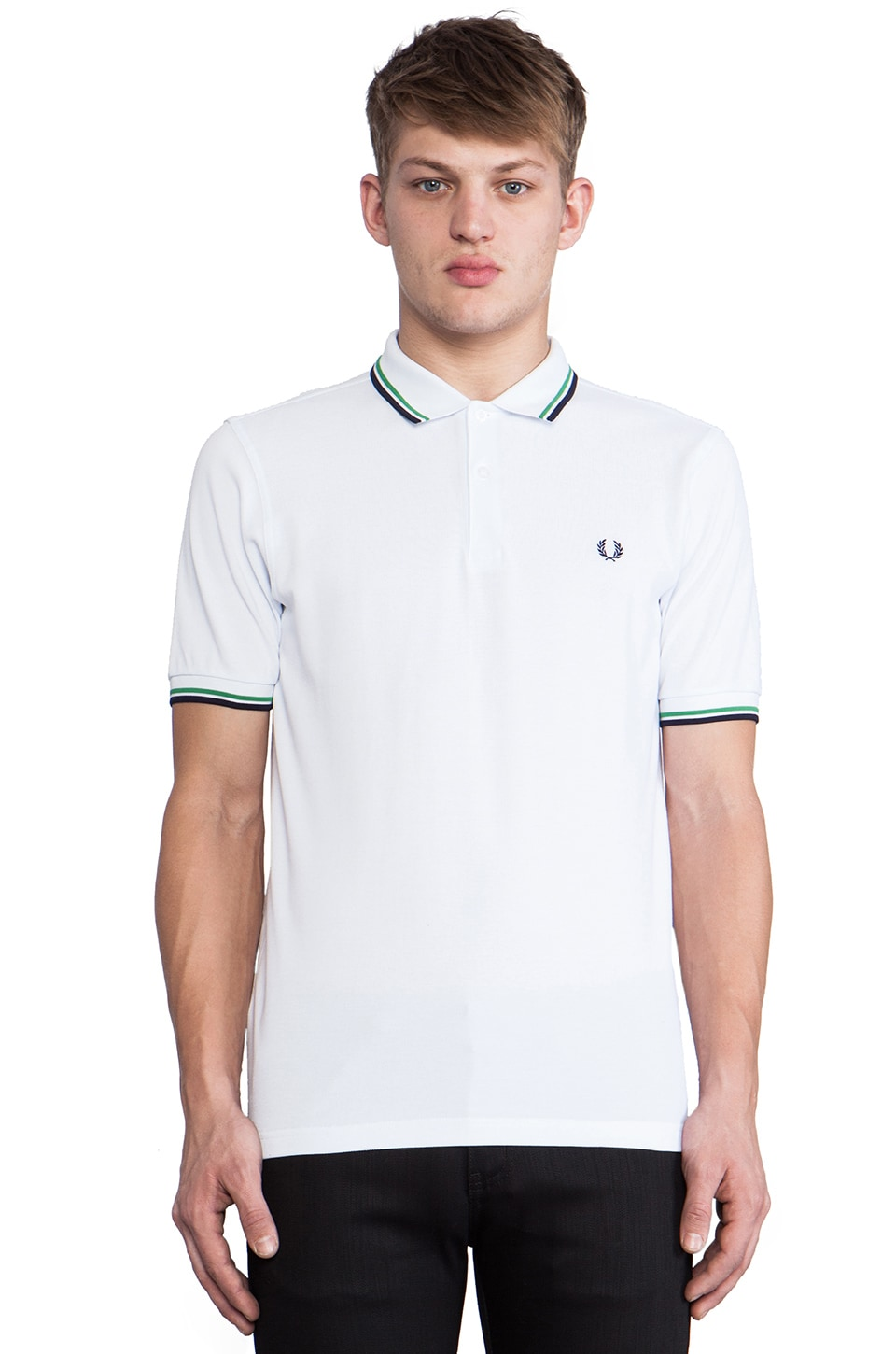 Fred Perry Twin Tipped Fred Perry Shirt in White & Island Green & Dark Dark Carbon