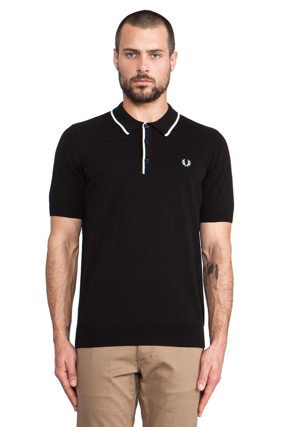 Fred Perry Classic Knitted Shirt in Black