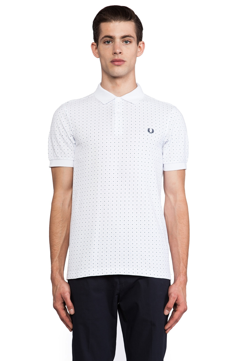 Fred Perry Polka Dot Two Button Shirt in White