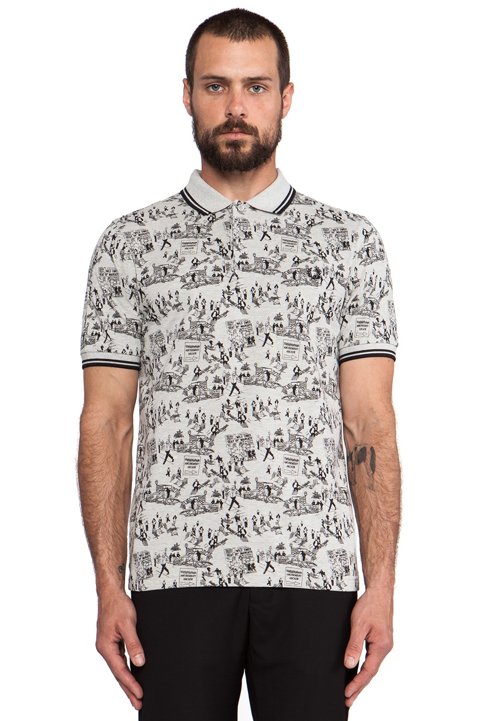 Fred Perry Margate Collection Whitsun Weekend Print Shirt in Marl Grey