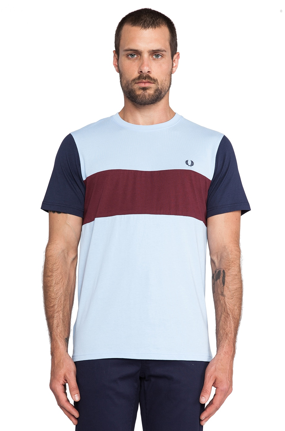 Fred Perry Colour Block Tee in Summer Blue