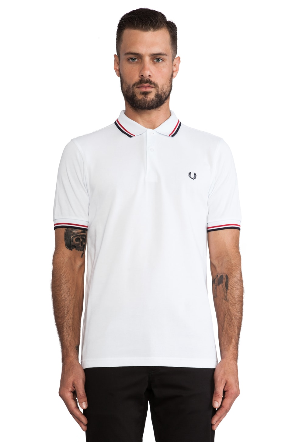 Fred Perry Twin Tipped Fred Perry Shirt in White & Bright Red & Navy