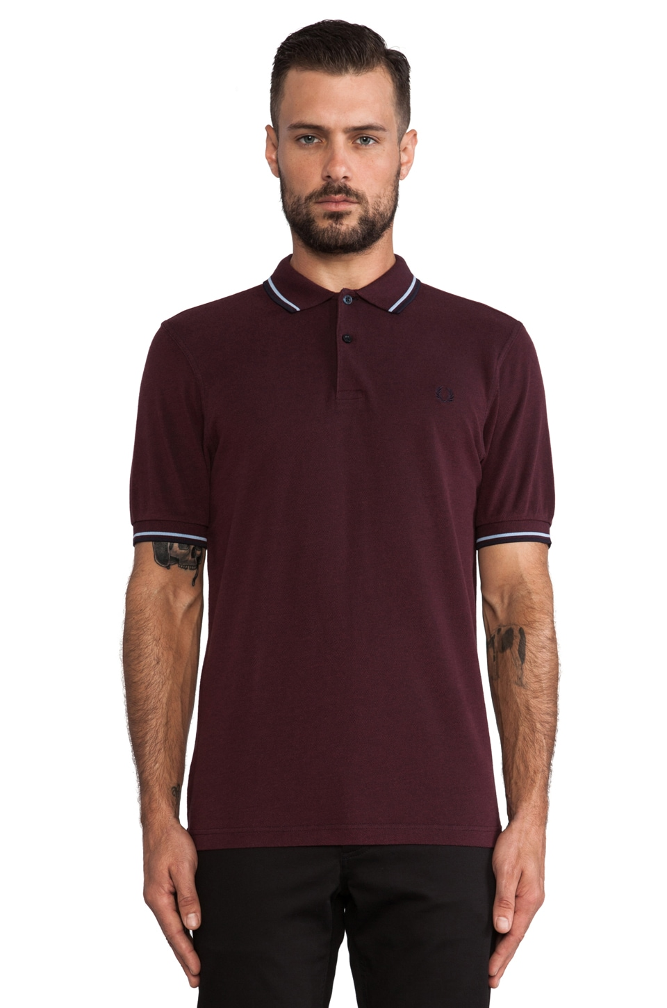 Fred Perry Twin Tipped Fred Perry Shirt in Navy Port Tonic & Glacier/ Port