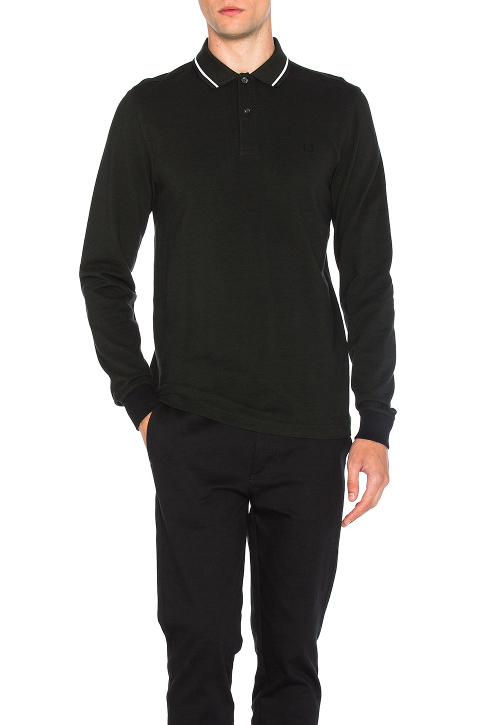 Fred Perry Long Sleeve Twin Tipped Polo In Hunting Black Green