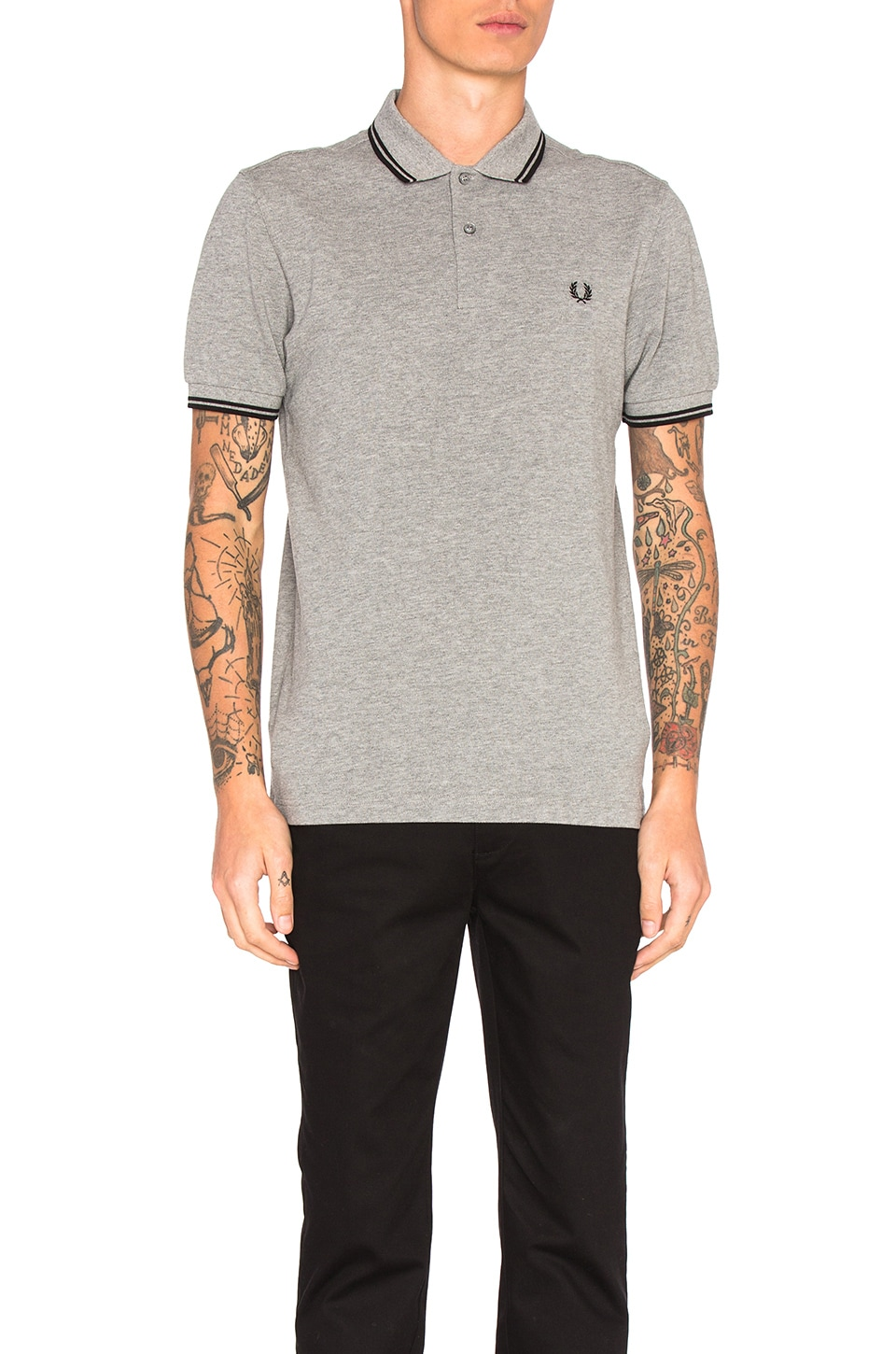 4a590f781 Fred Perry Twin Tipped Fred Perry Polo in Steel Marl   Black